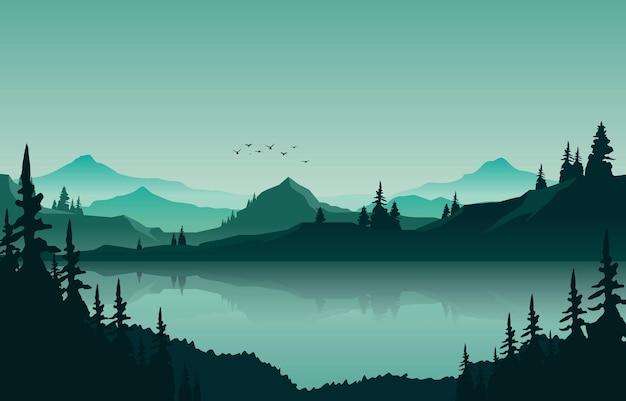 Krajobraz górskiej panoramy jeziora w zielonej monochromatycznej płaskiej ilustracji