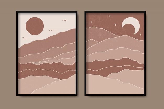 Krajobraz góry kształt szablon sztuki współczesnej w stylu vintage