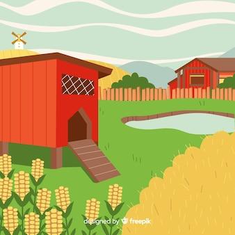 Krajobraz gospodarstwa kreskówka