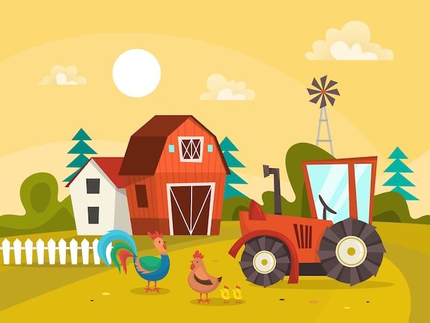 Krajobraz gospodarstwa z zielonym polem, domem i ciągnikiem