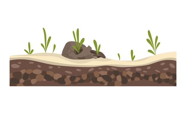 Krajobraz gry. charakter projektu kreskówki. krajobraz sekcji gleby.