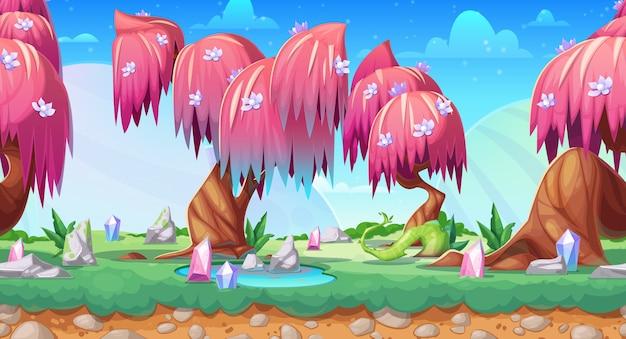 Krajobraz gry fantasy, bezszwowe tło z bajki lasu kreskówki.