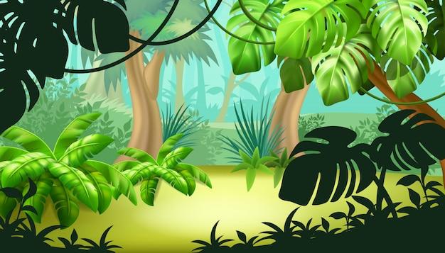 Krajobraz gry z roślinami tropikalnymi.