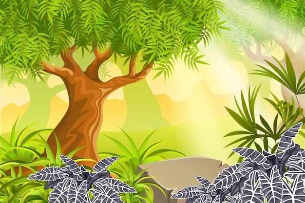 Krajobraz gry z roślinami tropikalnymi