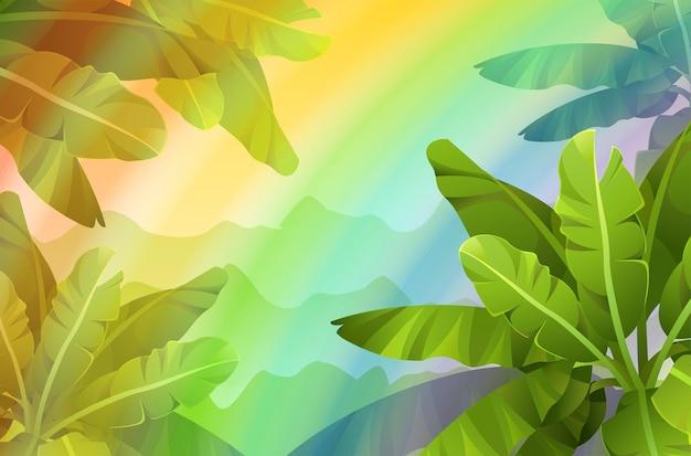 Krajobraz gry z tropikalnymi roślinami