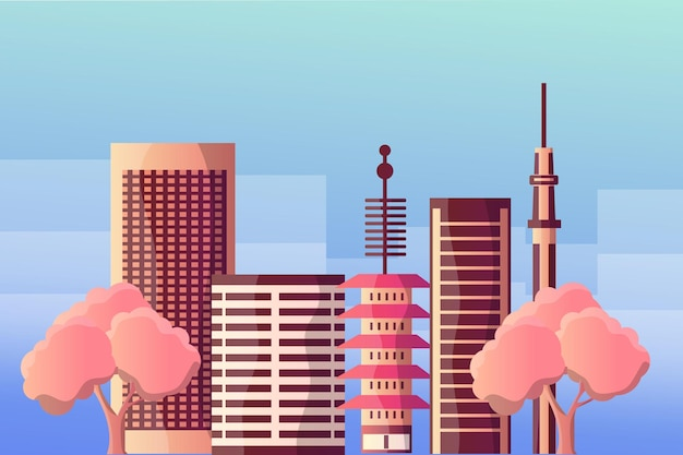 Krajobraz Ilustracja Miasta Tokio Dla Atrakcji Turystycznych Premium Wektorów