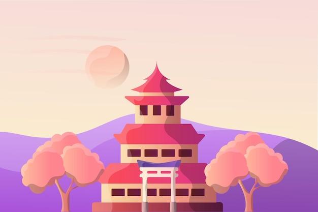 Krajobraz ilustracji japońskiego pałacu cesarskiego dla atrakcji turystycznej