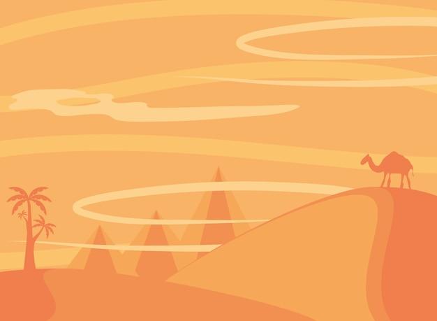 Krajobraz jałowej pustyni z palmami wielbłądami i piramidami