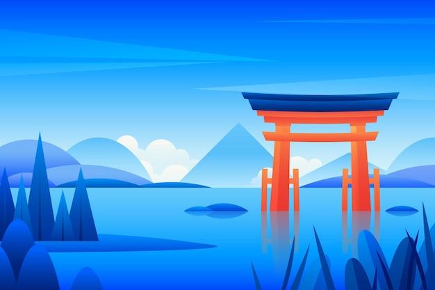 Krajobraz japońskiej bramy torii