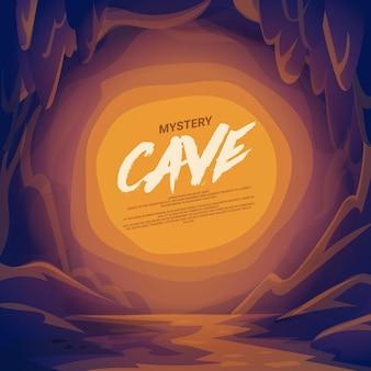 Krajobraz jaskini z miejscem na tekst