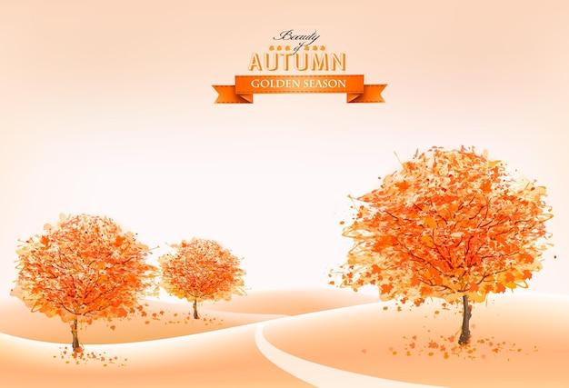 Krajobraz jesień tło. wektor.