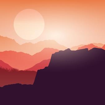 Krajobraz kanionu o zachodzie słońca