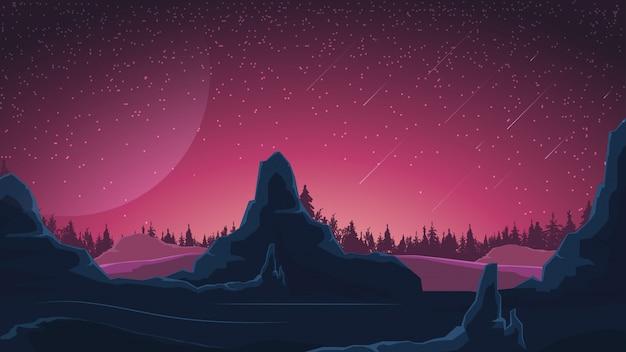 Krajobraz kosmiczny w odcieniach fioletu