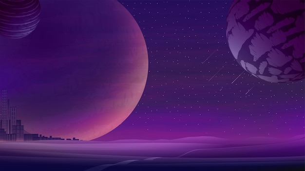 Krajobraz kosmiczny z dużymi planetami na fioletowym gwiaździstym niebie i miastem na horyzoncie.