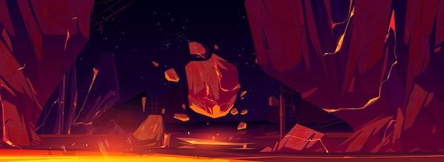 Krajobraz kosmiczny ze skałami i lśniącą lawą w pęknięciach