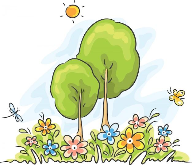 Krajobraz kreskówka lato