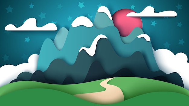 Krajobraz kreskówka papieru