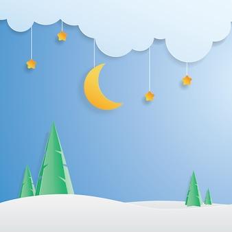 Krajobraz księżyc, gwiazda i zimowy krajobraz, sztuka papieru, cięcie papieru,