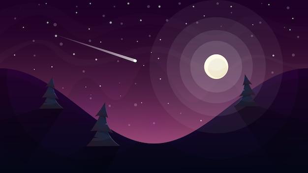 Krajobraz księżyca. gwiazda i góra.