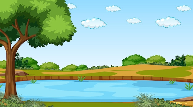 Krajobraz lasu przyrody w scenie dziennej z długą rzeką przepływającą przez łąkę