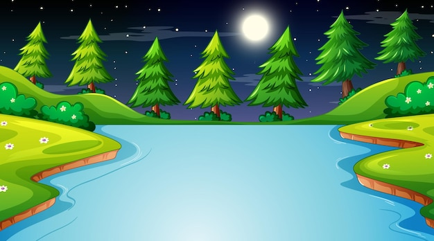 Krajobraz lasu przyrody w scenie nocnej z długą rzeką przepływającą przez łąkę