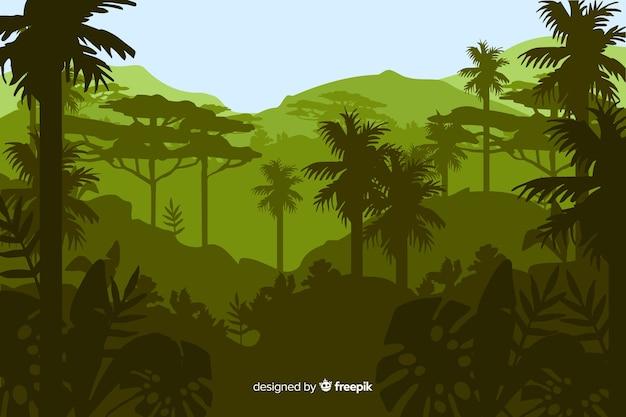 Krajobraz lasu tropikalnego z wieloma palmami