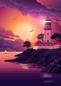 Krajobraz latarni morskiej.