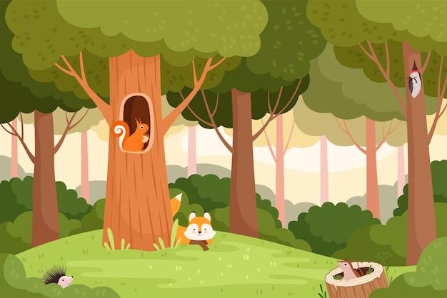 Krajobraz leśny. drzewa z otworami dla dzikich zwierząt dom w drewnianym pniu dla ptaków wiewiórki lisa wektor kreskówka tło. las krajobrazowy ze zwierzęcą, plenerową ilustracją dzikiej scenerii