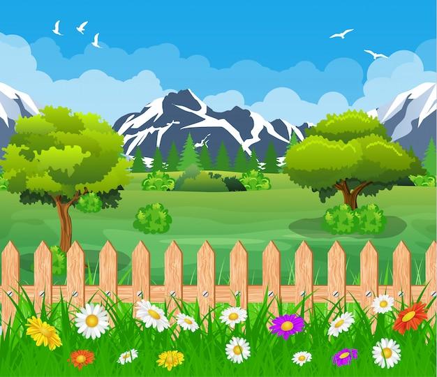 Krajobraz letniego ogrodu.