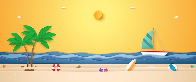 Krajobraz łodzi płynącej po falującym morzu z letnimi rzeczami na plaży i jasnym słońcem na czas letni