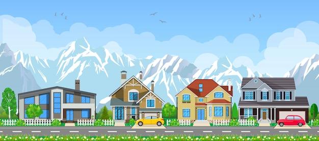 Krajobraz małej wioski.