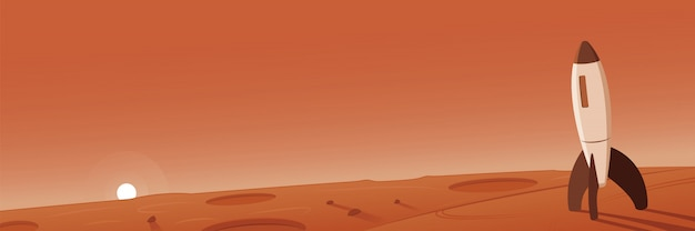 Krajobraz marsa ze sceną rakietową