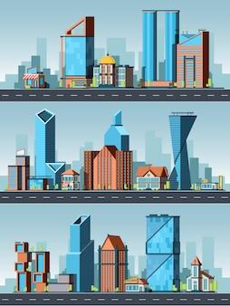 Krajobraz miasta. budynki miejskie z biurami w mieście z drogi gród i tło mapy miasta