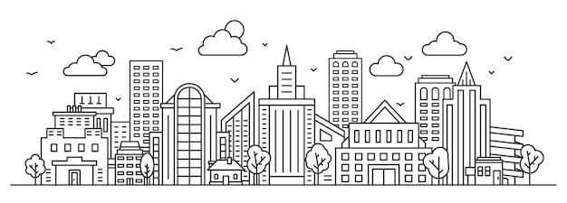 Krajobraz miasta linii. panorama miejska z wieżowcem, budynkami i drzewami. zarys ulicy miasta i nieba. koncepcja wektor cienka liniowy gród. ilustracja linia zabudowy miasta, zarys pejzażu