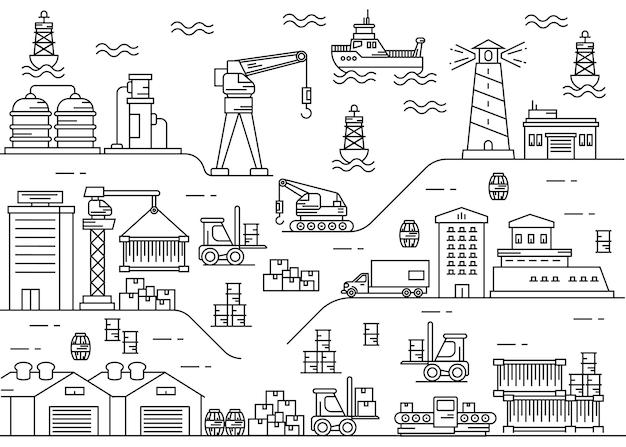 Krajobraz miasta portu morskiego z łodzią i statkiem towarowym grafika liniowa