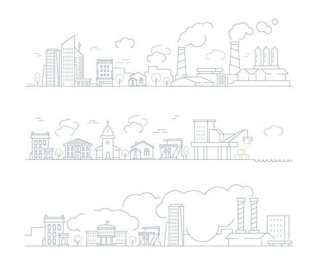 Krajobraz miasta przemysłowego. fabryka miejskich budynków smogowych i chmur parowych transportuje liniowe tło złego środowiska. ilustracja miasto smogu, budynek fabryki i zanieczyszczenie