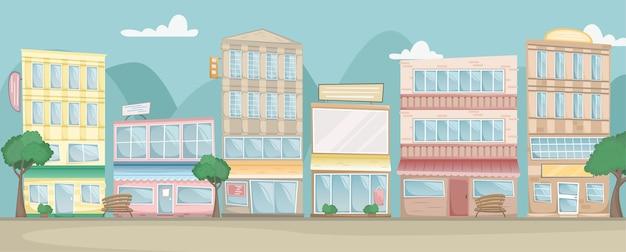 Krajobraz miasta. ulica z jasnymi domami, szyldami, drzewami i ławkami. widok poziomy