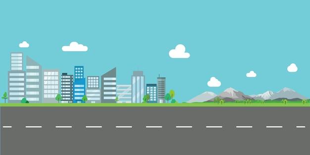 Krajobraz miasta wektor ilustracja płaska konstrukcja