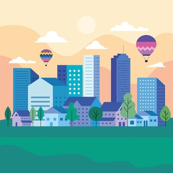 Krajobraz miasta z budynkami, domami balonów na ogrzane powietrze, drzewami, słońcem i chmurami, projektowanie, architektura i motyw miejski