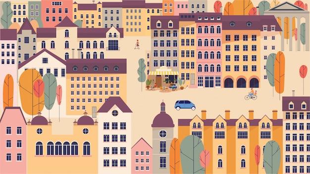 Krajobraz miasta z budynkami i drzewami ilustracji wektorowych w prostym minimalistycznym geometrycznym stylu płaski.