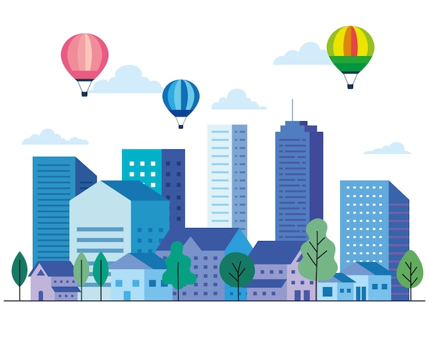 Krajobraz miasta z budynkami, w których znajdują się balony na gorące powietrze, drzewa i chmury, projektowanie, architektura i motyw miejski