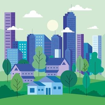 Krajobraz miasta z budynkami, w którym znajdują się drzewa, chmury i słońce, projekt architektoniczny i miejski