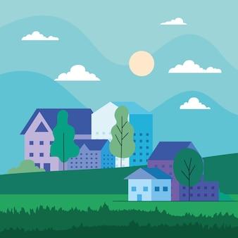 Krajobraz miasta z domami, drzewami, chmurami i słońcem, architekturą i motywem miejskim