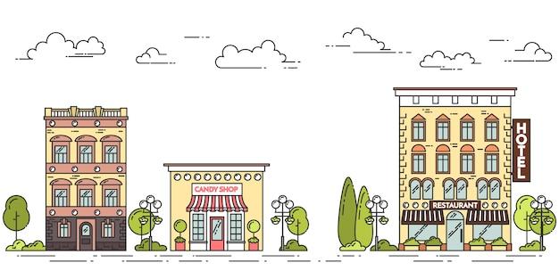 Krajobraz miasta z domami, kawiarnia, drzewa, chmury. ilustracji wektorowych. płaska linia sztuki.