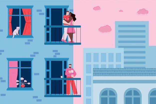 Krajobraz miasta z fasadą domu i ludźmi stojącymi na balkonach budynku, szkic ilustracji wektorowych kreskówki.