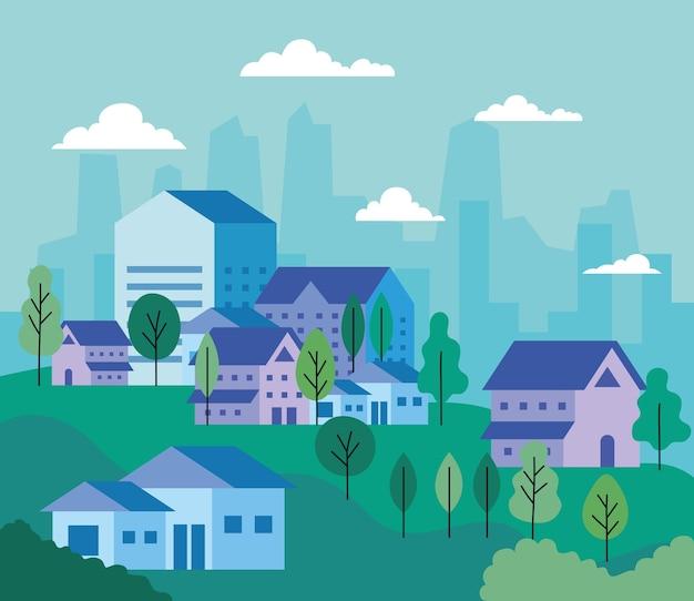 Krajobraz miasta z projektami domów, drzew i chmur, architekturą i motywem miejskim