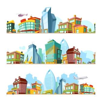 Krajobraz miejski bez szwu. tła miejskie z nowoczesnymi budynkami panoramiczny wzór miasta do projektowania gier 2d