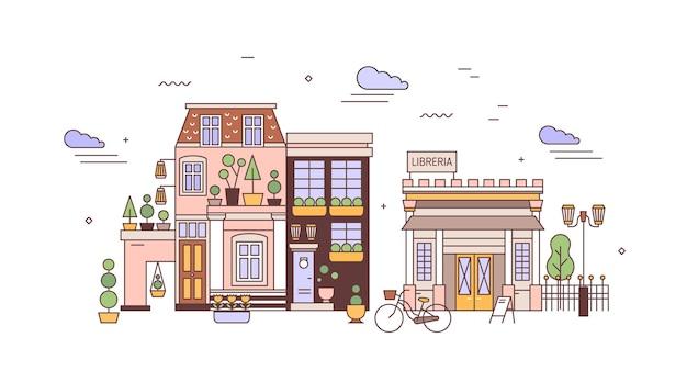 Krajobraz miejski lub pejzaż miejski z fasadami eleganckich budynków mieszkalnych o europejskiej architekturze. widok na dzielnicę miasta z domami mieszkalnymi i biblioteką. ilustracja wektorowa w stylu sztuki linii.