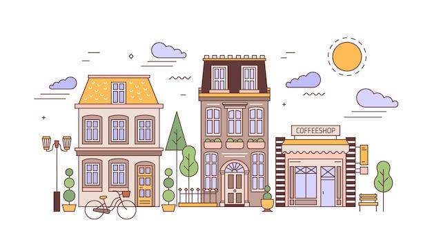 Krajobraz miejski lub pejzaż miejski z fasadami stylowych budynków mieszkalnych