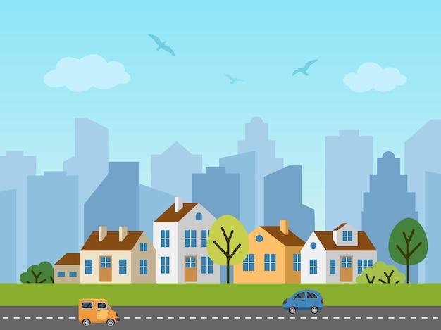 Krajobraz miejski miasta. panorama domków przed wieżowcami. ptaki na niebie, samochody na drogach.